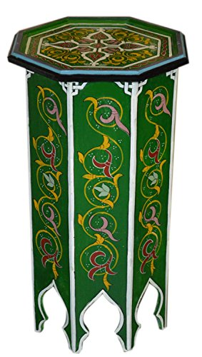 Moroccan Wood Side End Table Corner Coffee Handmade Hand Painted Moorish Tall Green