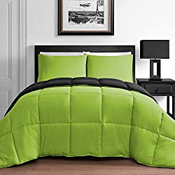 Modern 3 Piece King & Queen Home Reversible Microfiber Comforter Set in Lime Green & Black (King)