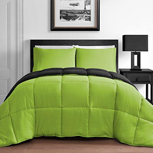 Modern 3 Piece King U0026 Queen Home Reversible Microfiber Comforter Set In Lime  Green U0026 Black (Queen)