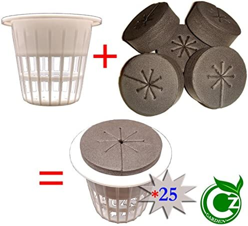 2 inch Net Cups Cloning Collar Inserts Combo 25 Pack for DIY Cloners 2 inch White Pots Black Inserts
