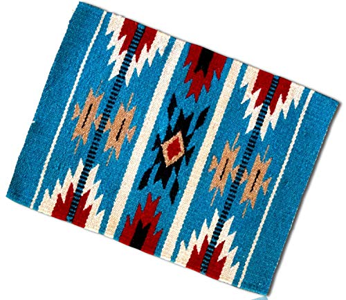 (mySimpleProduct.Shop Blue, Red, White Rectangle Southwestern Native American Geometric Pattern Mexican Fringed Blanket Table Placemats Made of 90% Wool and 10% Polyester Yarn [1 Unit] + Certificate)