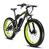Cyrusher Fat Tire Bike Snow Bike Mountain Bike with Motor 500W/1000W 48V Lithium Battery Extrbici XF660 Shimano 7 Speeds System 4.0 inch Fat Tire s New Adjustable Handlebar