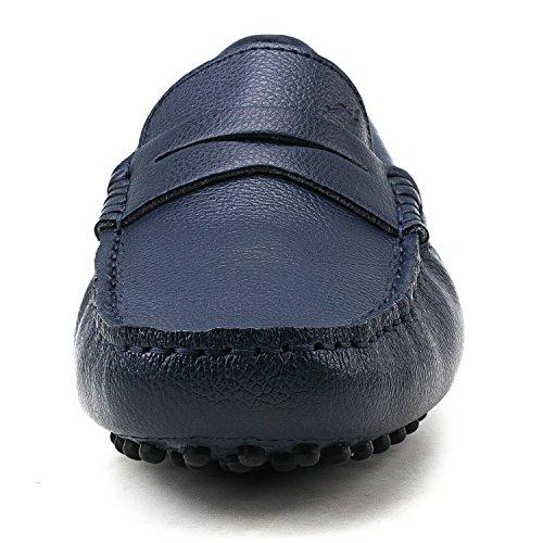 Ausland Menns Penny Loafers, Slip-on Casual Sko V7152 Blå