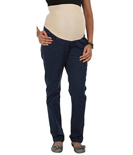 af355818143e3 Kriti Western Maternity Tummy Hug Slim Fit Pant Blue: Amazon.in: Clothing &  Accessories