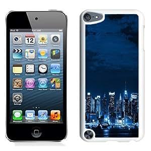 NEW Unique Custom Designed iPod Touch 5 Phone Case With Metropolis Big City Night Skyline_White Phone Case