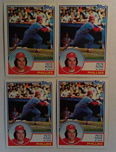Topps 1983 Pete Rose Phillies 1st Base Baseball Cards # 100 Lot of - Gum Chewing Cards Topps