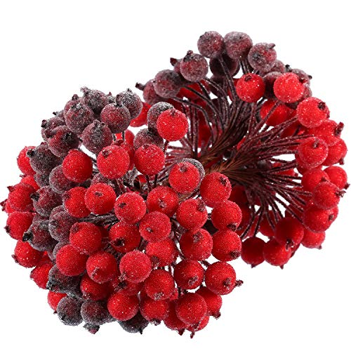 Tatuo Artificial Frosted Holly Berries Fake 12 mm Mini Christmas Fruit Berry Flower Decor (Red and Dark Red, -