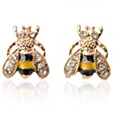 Alloy Bee Shape Stud Earrings Golden by Preciastore - Best Reviews Guide