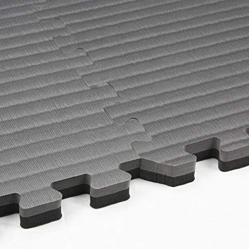 IncStores - Tatami Foam Tiles - Extra Thick mats Perfect for Martial Arts, MMA, Lightweight Home Gyms, p90x, Gymnastics, Yoga and Cardio (Black/Grey, 1 (3'x3') Tile, 9 Sqft + Borders) by IncStores (Image #4)