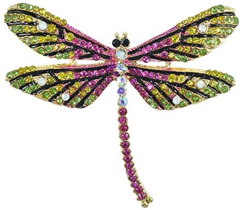 Gyn&Joy Golden Tone Colorful Crystal Rhinestone Dragonfly Flying Insect Brooch Pin BZ198
