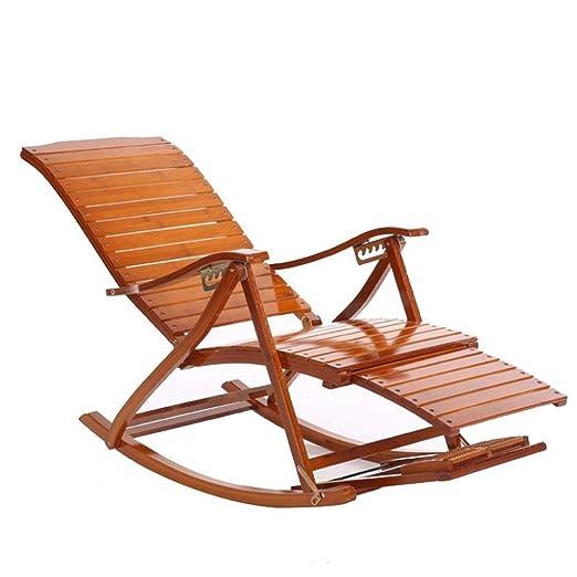 XITER Silla mecedora de bambú Silla para dormir para adultos ...
