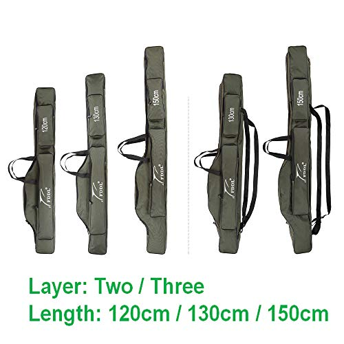 Docooler Folding Fishing Rod Case Canvas Fishing Pole Tools Storage Bag Fishing Gear Tackle 2 Layer/ 3 Layer,120cm/130cm/150cm from Docooler