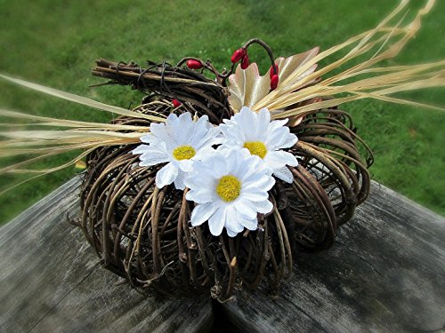 Daisy Grapevine Pumpkin Centerpiece- Rustic Flower Arrangement- Country Wedding Table Decoration (Centerpiece Grapevine)