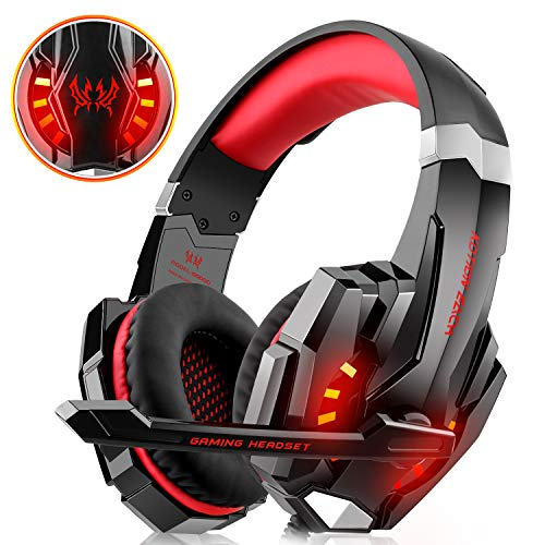WILLNORN Gaming Headset for Xbox One, PS4, PC Controller Noise Cancelling Over Ear Headphones with Mic, LED Light, Bass Surround for Laptop Mac Nintendo Switch Games (Red)