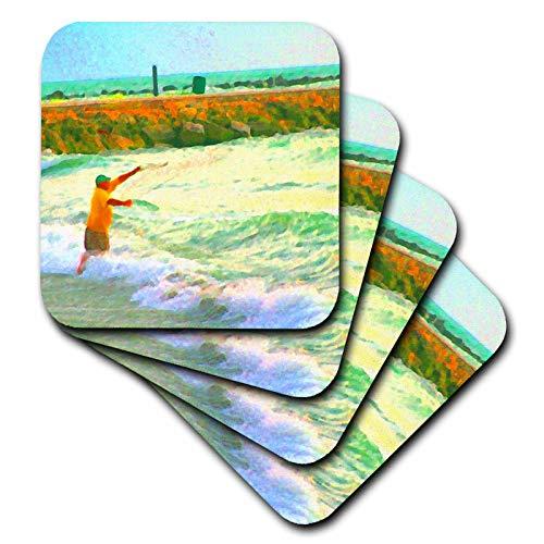 3dRose Susans Zoo Crew Florida Beach - casting fisherman abstract green orange - set of 4 Ceramic Tile Coasters (cst_186570_3)