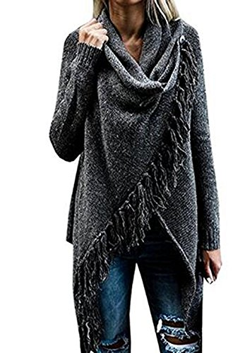 Minetom Femme Automne Hiver Gilet Poncho Pull Over Cape En Tricot Tassel Cardigan Chandail Irr
