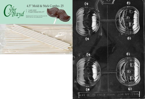 25 Cello Bags Cybrtrayd Carousel Horse Lolly Miscellaneous Chocolate Candy Mold with Lollipop Supply Bundle of 25 Lollipop Sticks 25 Gold Twist Ties and Instructions