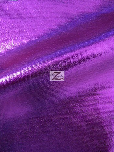 METALLIC FOIL SPANDEX FABRIC - Purple - STRETCH LYCRA 58/60 WIDTH SOLD BY THE YARD by Big Z Fabric