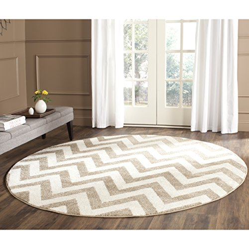 Safavieh Amherst Collection AMT419S Wheat and Beige Indoor/ Outdoor Round Area Rug (7' Diameter) - Beige 7' Round Area Rug
