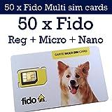 50 x Fido Multi sim card format ( Regular + Micro + Nano ) 3G 4G LTE Canada