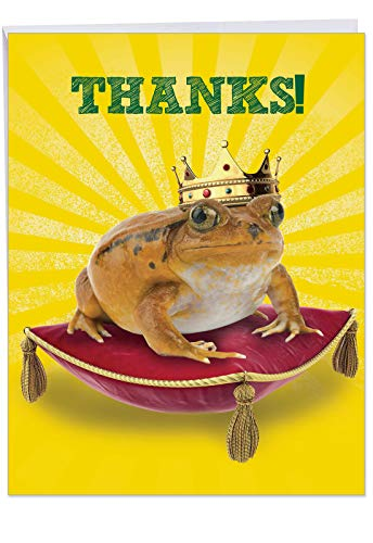 XL 'Frog Prince' Thank You Card with Envelope 8.5 x 11 Inch - Funny Animal Appreciation Stationery for All Occasions, Large Greeting Card for Weddings, Birthdays, Mother's Day J8176 ()