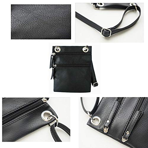 Women Shoulder for Double Pocket Purse zip Small Donalworld Crossbody Bag Black 4zPqZqx