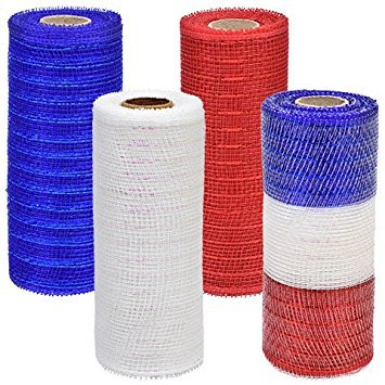 Patriotic Decorative Mesh 4 Pack Red Blue White Multi Color Red White Blue