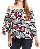 Sakkas WRT166 - Abree Off-Shoulder Short Sleeve Blouse Top Ankara Wax Dutch African Print - 2288 Black/White - OS