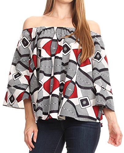 Sakkas Abree Off-Shoulder Short Sleeve Blouse Top Ankara Wax Dutch African Print