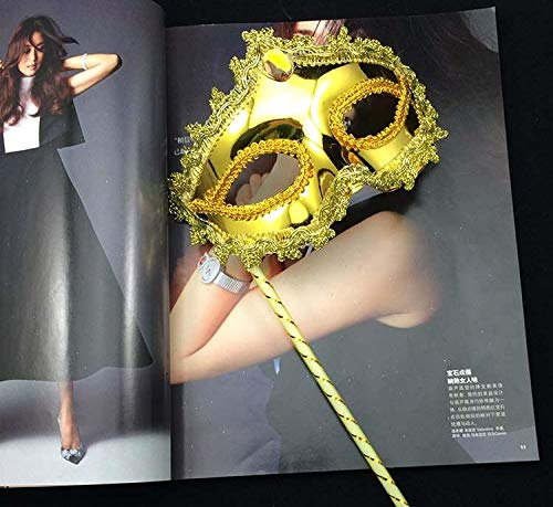 Party Masks - Princess Woman Mask On Stick Sexy Venetian Costume Ball Maskes Sequin Lace Edge Lateral Flower Gold - Gold Bulk On Couples Set Sticks 100 Superhero Adults Holloween