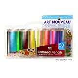 Art Advantage Soft Leads Colored Pencils with Coloring Book and Carrying Case, 50-Colors