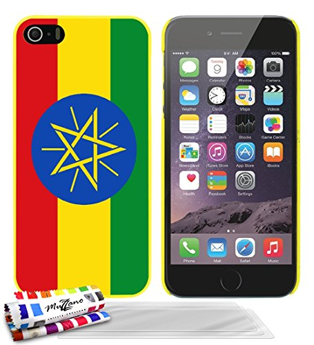 Ultraflache weiche Schutzhülle APPLE IPHONE 5 [Flagge Athiopien] [Gelb] von MUZZANO + 3 Display-Schutzfolien UltraClear + STIFT und MICROFASERTUCH MUZZANO® GRATIS - Das ULTIMATIVE, ELEGANTE UND LANGLE