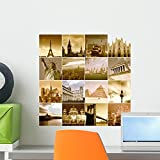 Wallmonkeys Travel around the World Wall Decal Peel and Stick Graphic WM58289 (18 in H x 18 in W)