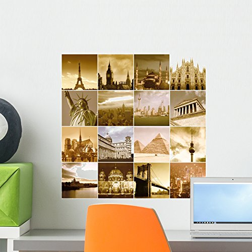 Wallmonkeys Travel around the World Wall Decal Peel and Stick Graphic WM58289 (18 in H x 18 in W) by Wallmonkeys