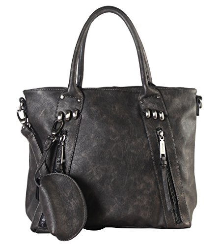 diophy-double-front-zipper-large-tote-bag-with-one-detachable-coin-pouch-cz-3721-pewter