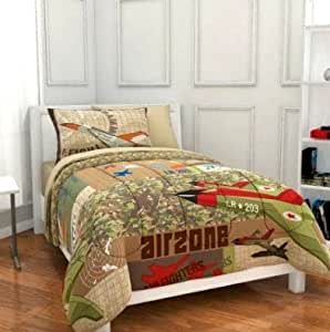 5pc Boy Green Brown Camouflage Airplane Military Twin Comforter Set (Bed in a Bag)