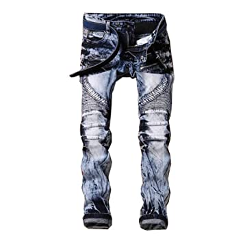 ZX Pantalones Vaqueros PequeñOs Pantalones Rectos Plisados ...