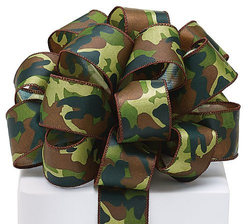 Burton and Burton 9720383#9 Camo Satin Wired Ribbon,