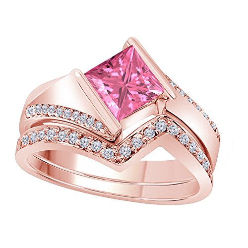 DS Jewels 1.50 Ct Princess & Round Cut Cteated Pink Sapphire & Cubic Zirconia 14k Rose Gold Plated Alloy Half Bezel Vintage Design Wedding Band Engagement Bridal Ring Set Size 4 to 11