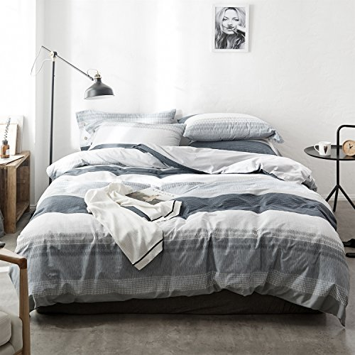 Cotexture Duvet Cover Set Queen 100% Natural Cotton Simple Boho Style Grey 3-pcs Bedding Set Stripe Printed Bohemian Comforter Quilt Cover Set Grey and White (1 Duvet Cover + 2 Pillowcases)