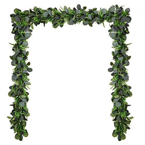 Woooow 40inch Mixed Eucalyptus Garland Silver Dollar Eucalyptus Leave Garland Greenery Garland String Wedding Arch Swag Backdrop Table Runner Garland Indoor ()