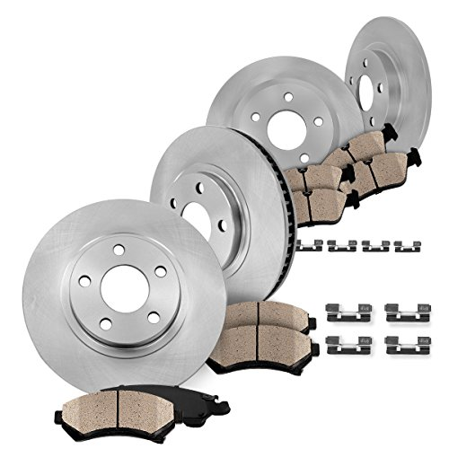 FRONT 294 mm + REAR 302 mm Premium OE 5 Lug [4] Rotors + [8] Quiet Low Dust Ceramic Brake Pads + Clips - Mitsubishi Lancer Brakes