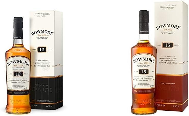 Bowmore - Whisky, 12 años, 70 cl + Bowmore - Whisky Darkest con Estuche, 15 años, 70 cl: Amazon.es: Alimentación y bebidas