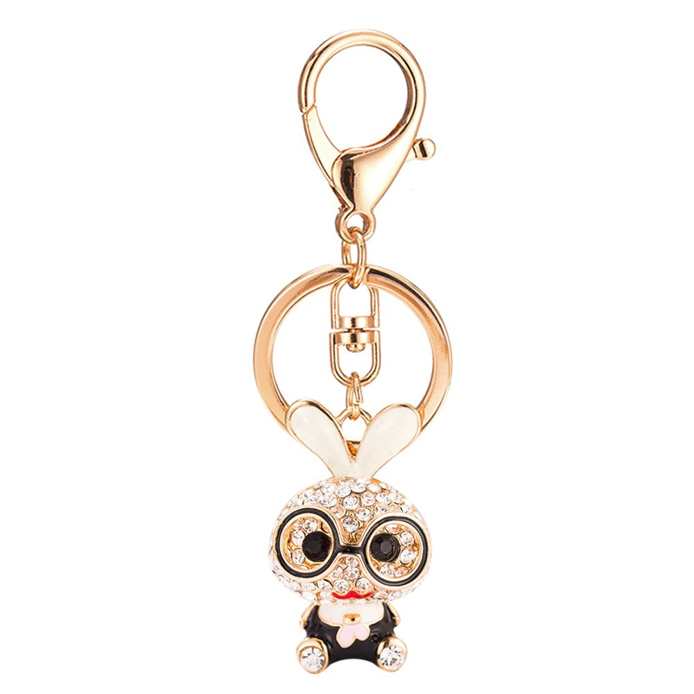 Cute Glasses Rabbit Rhinestone Keychain for Purse Handbag Car Charm Pendant by leomoste