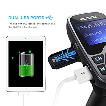 """Victsing Bluetooth Fm Transmitter For Car, Wireless Bluetooth Radio Transmitter Adapter With Hand-free Calling & 1.44"""" Lcd Display, Music Player Support Tf Card Usb Flash Drive Aux Inputoutput 5"""