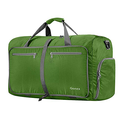 Gonex 60L Foldable Travel Duffel Bag Water & Tear Resistant, Green ()