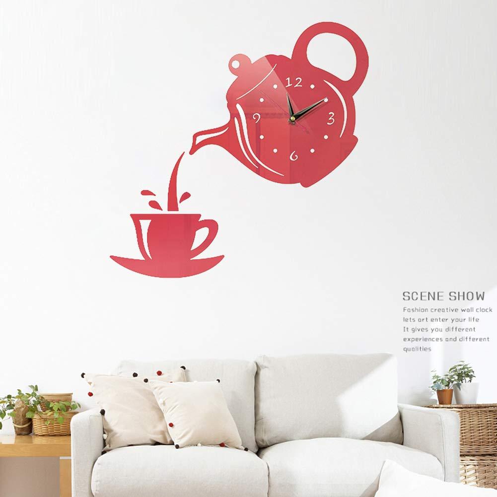 Taglia libera a forma di teiera da caff/è Orologio da parete in acrilico a specchio adesivo da parete fai da te per cucina stile europeo 3D Nero