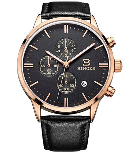 BINGER Men's Date Multifunction Chronograph Watches with Stopwatch Timer Black Leather Strap (black dial rose gold case)