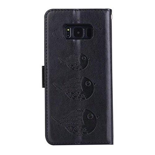 en cuir pour en Black Plus en cuir relief S8 Color Rosegold motif antidérapable détachable Housse PU étui Samsung Galaxy vIqw5BZ5