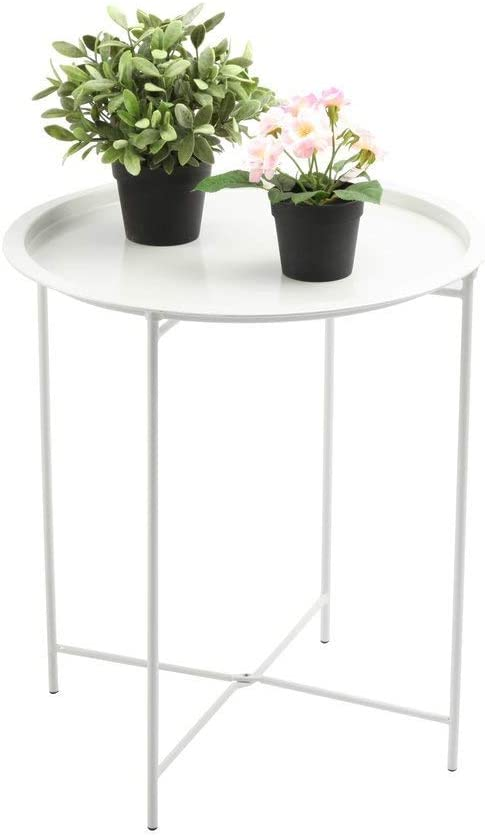 Finnhomy Small Round Side End Table, Sofa Table, Tray Side Table, Snack Table, Metal, Anti-Rusty, Outdoor and Indoor Use for Putting Small Things, Multi-use